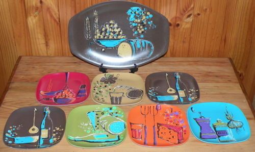 Retro Bessemer Wiederkehr BBQ picnic Plate set 8 pcs - bright, colourful & shiny
