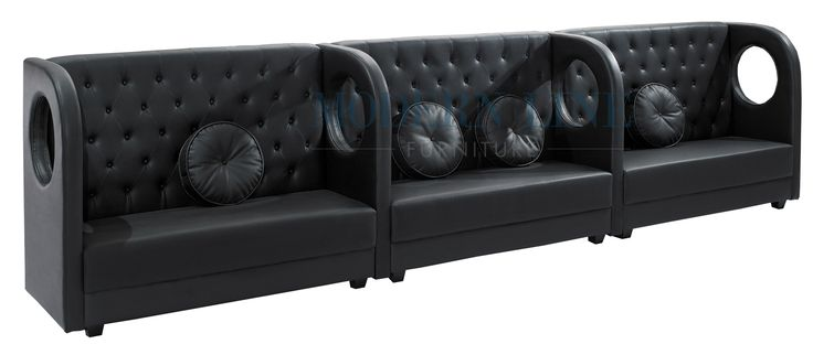 modern modular black leather tall banquette extra long