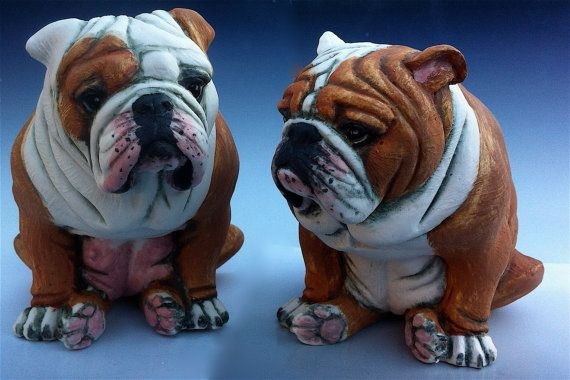 English Bulldog figurines sculptures, bulldog collectables hand painted white and tan dog figurines Promethuis & Pandora by Clare McFarlane