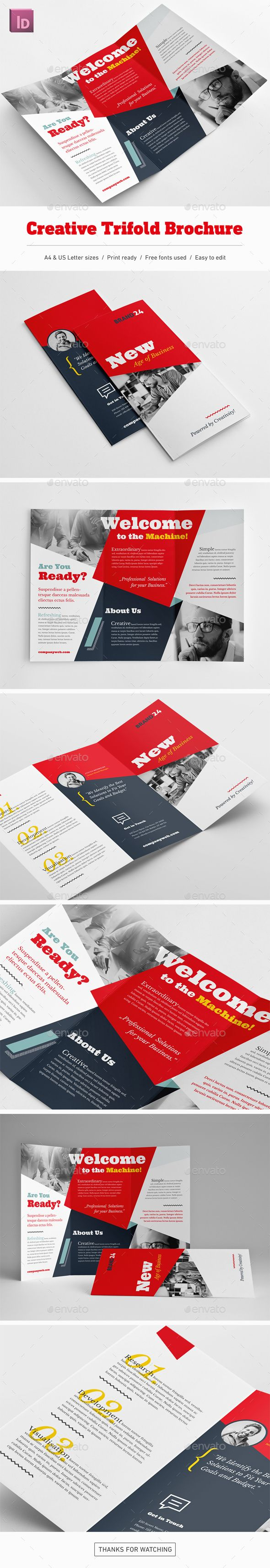 Creative Trifold Brochure Template InDesign INDD - A4 & US Letter Size
