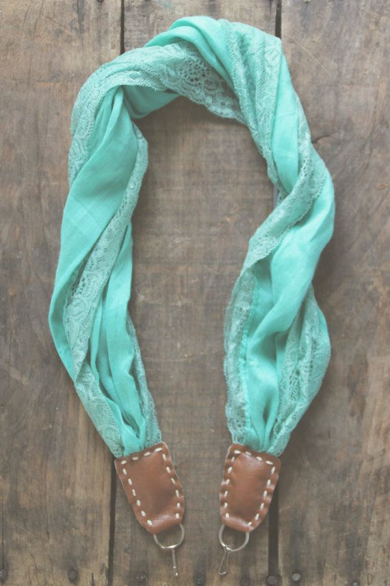 Scarf Camera Strap in Teal & Lace by AnnabellsWorkshop on Etsy