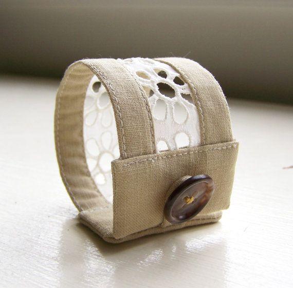 bracelet large tissu et dentelle