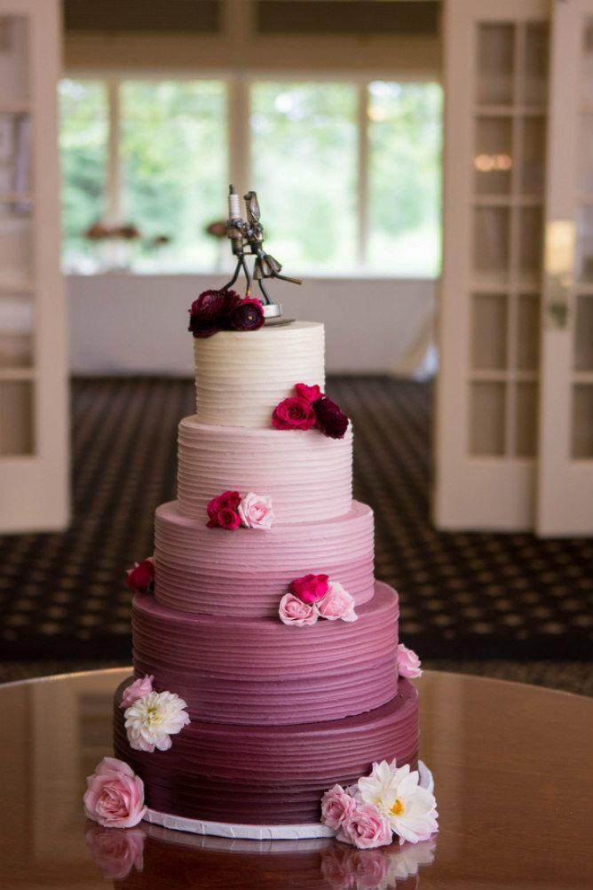 Purple ombre wedding cake found on