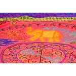 Tea-Rose Gujarati Bedspread with Appliqué Elephants and All-Over Embroidery