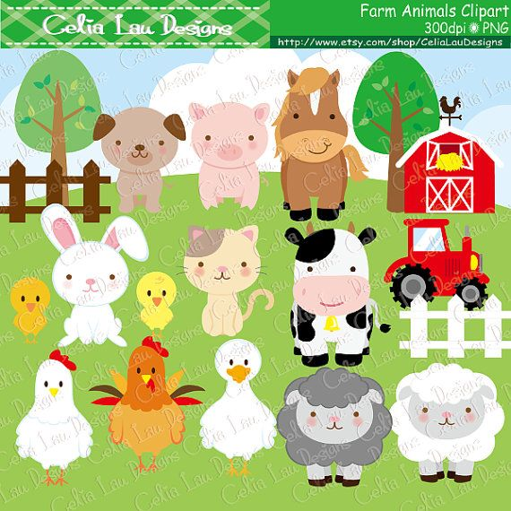 Farm animals Clipart cute farm animals clip art by CeliaLauDesigns
