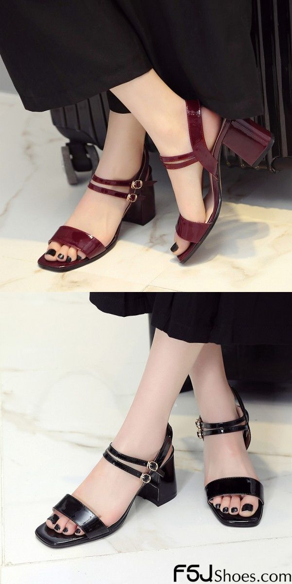 1c9a280931 Women's Style Sandal Shoes Black and Burgundy Open Toe Chunky Heels Ankle  Strap Sandals Summer Bucket List Fantasy Dress Shoes Cute Outfits For  Students ...
