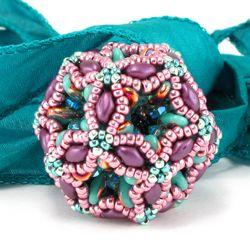 Fiberoptic Dodecahedron Beaded Bead - Cindy Holsclaw - Bead Origami