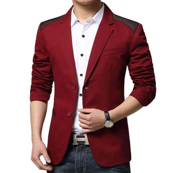 Cheap Wholesale 2015 New Arrival Spring Fashion Candy Color Stylish Slim Fit Men's Suit Jacket Casual Business Dress Blazers 3XL