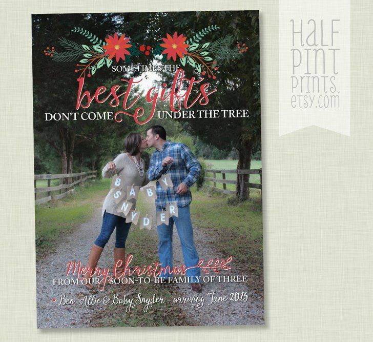 Pin for Later: The Cutest Holiday Pregnancy Announcement Ideas We've Seen Best Gifts Pregnancy Reveal Holiday Card Best gifts Christmas pregnancy announcement ($15)