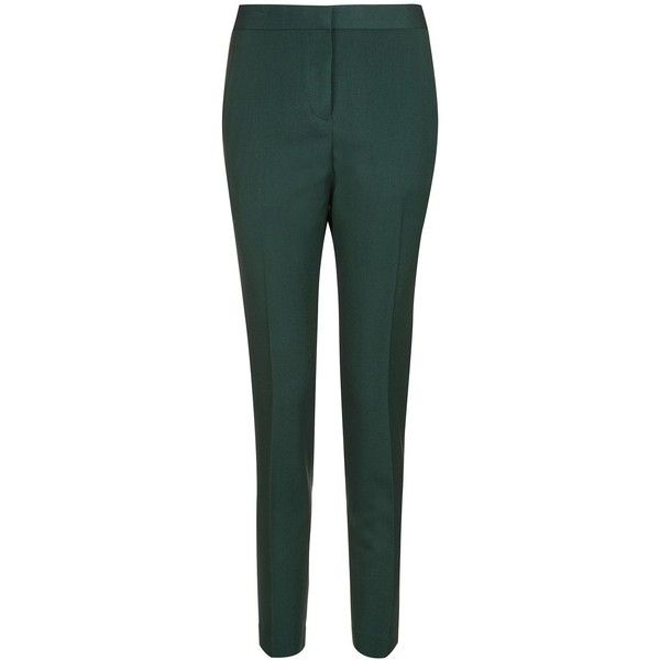 Topshop Tailored Suit Trousers (575 ZAR) ❤ liked on Polyvore featuring pants, dark green, tailored suit pants, dress pants, green trousers, dark green dress pants and dark green pants
