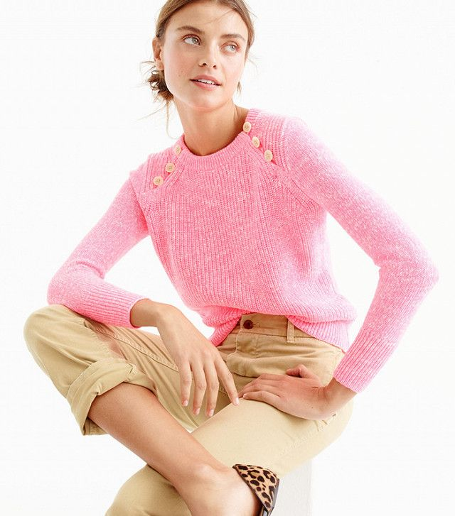 PINK J.Crew Textured Cotton Sweater with Anchor Buttons