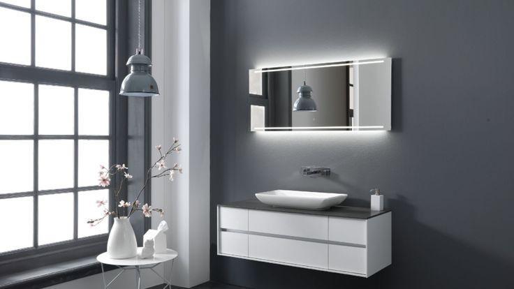 Thebalux stone serie met opzet waskom en meubel in hoogglans wit bij Ennovy badkamers