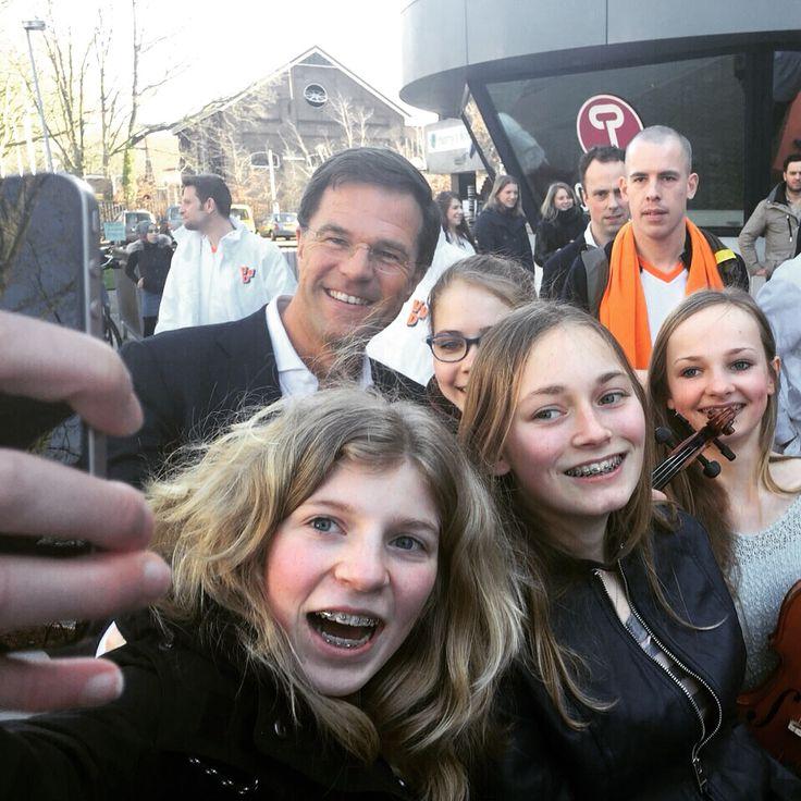 Tijd voor een selfie met Mark Rutte!