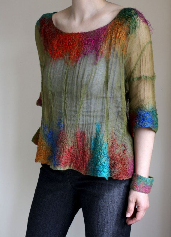 Eden, Shear Top in merino, cotton, silk, OOAK