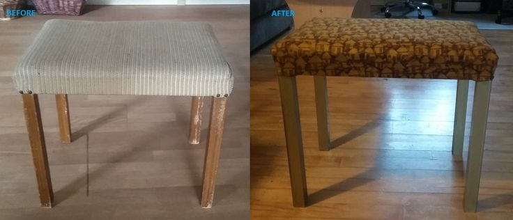 New fabric and gold paint for the legs of a foot stool.