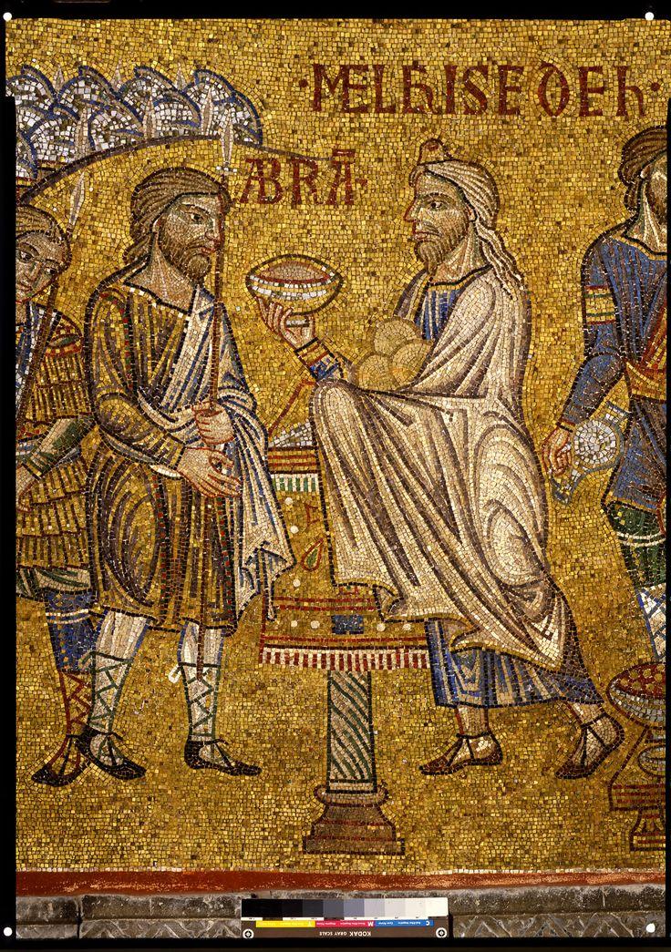 """Story of Abraham, meeting of Abraham and Melchizedek, detail of Abraham and Melchizedek. базиликата """"Сан Марко"""" във Венеция."""