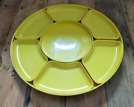 Large 1970s Bright Yellow Melaware Style Rotating