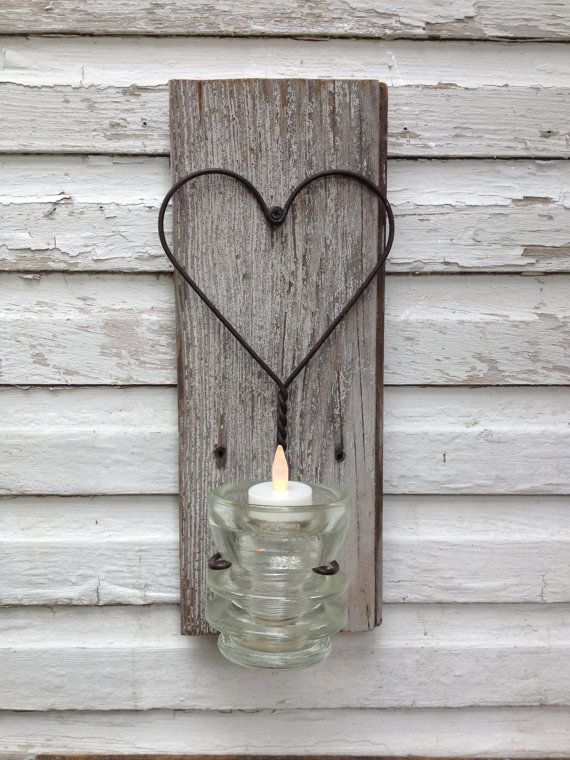 candle holder rustic wire heart upcycled antique glass insulator on reclaimed wood op etsy u20ac