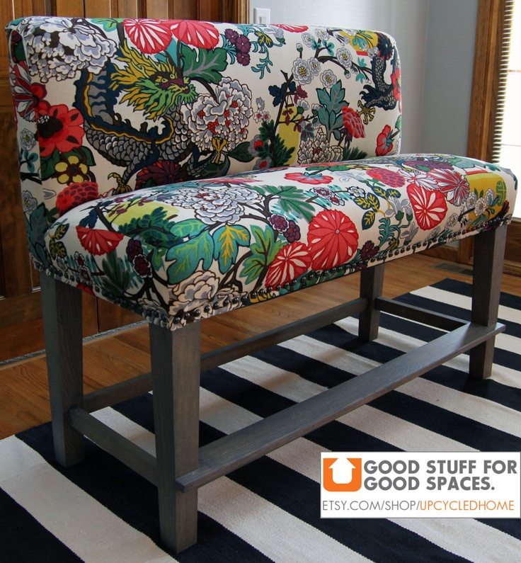 Kitchen Bench Fabric: Bragging Rights ][ Custom Upholstered Counter Bench