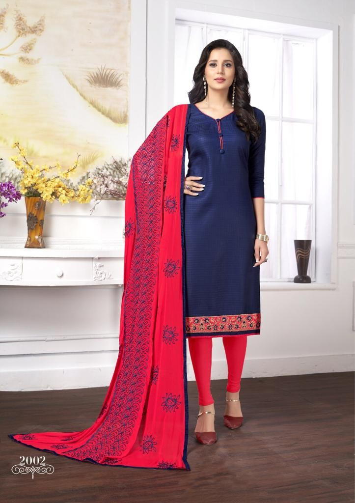 86a09f3ec2 Admirable Blue Color Party-wear Embroidered Cotton Dress   Salwar ...