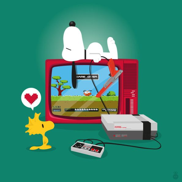 Snoopy video gaming http://www.strangekidsclub.com/2014/01/03/fan-art-friday-famous-pooches-from-pop-culture-by-lilys-factory/
