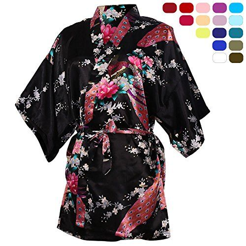 Peacock and Blossoms Bathrobes Dressing Gown for Spa Girls/' Satin Kimono Robe