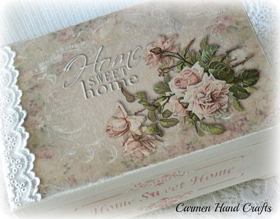 Beautiful,large jewellery box,hand painted with a chalk paint,stenciled with acrylic paint. Decoupage with a beautiful vintage style rice paper,decorated with a lovely lace. A lot of room for you all treasures,under removable shelf for small pieces. Protected with acrylic varnish on the top,and waxed on the sides. The colors may slightly vary on your display. All my decorations have to be cleaned with a damp cloth.  Size : 30cm x 20.5cm x 14 cm  Thank you for visiting my shop :)