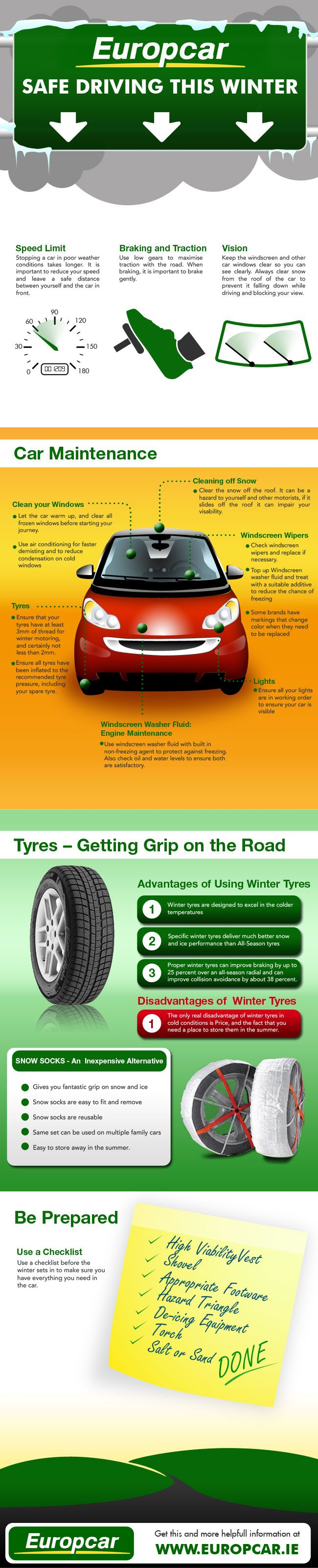 Winter safety tips for truck drivers - Europcar Infographic On Driving Tips For The Colder Season Of All The Seasons Winter