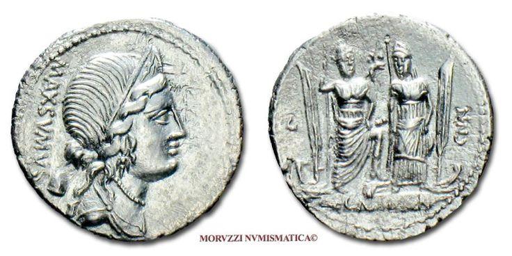 Ancient Coins - GENS EGNATIA Cn. Egnatius Cn. f. Cn. n. Maxsumus SILVER DENARIUS 75 BC Roman coin for sale