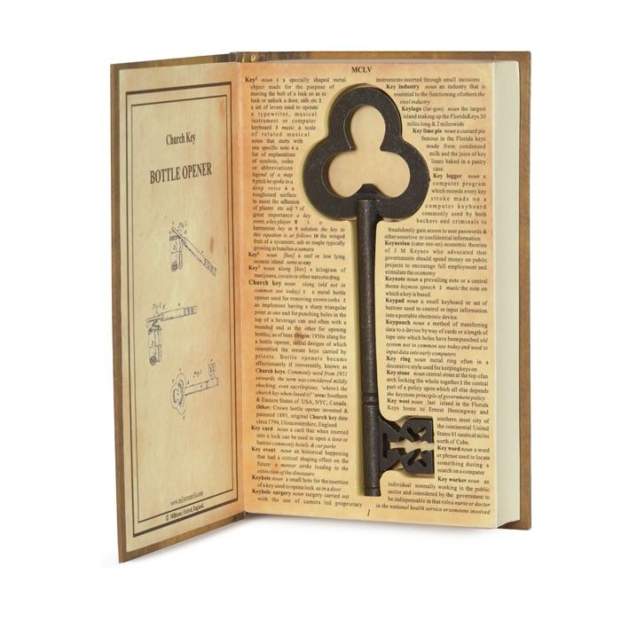 a unique church key shaped bottle opener in a book style box labeled the church key cool. Black Bedroom Furniture Sets. Home Design Ideas