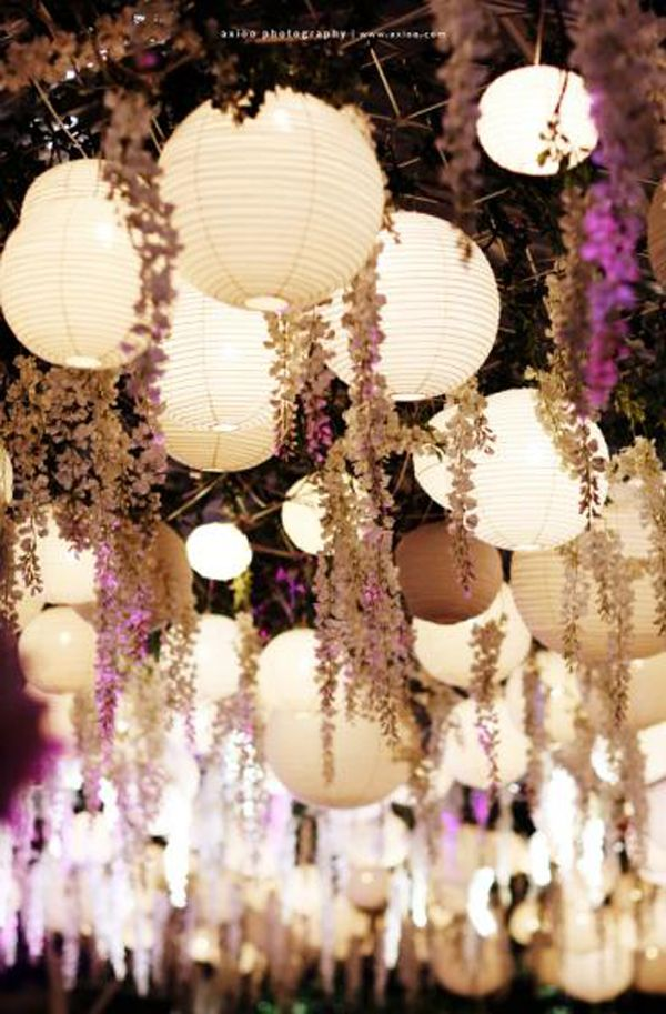 Hanging Lanterns and wisteria creates an elegant, romantic ambiance #ceilingdecor #mynoahs