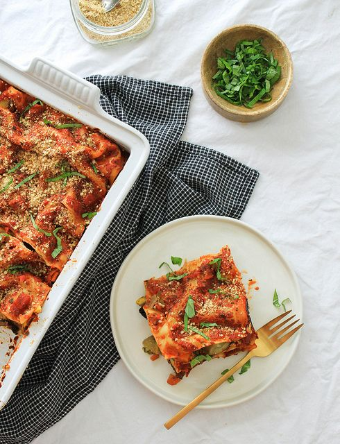 The Ultimate Vegetable Lasagne with cashew ricotta cheese and almond parmesan.