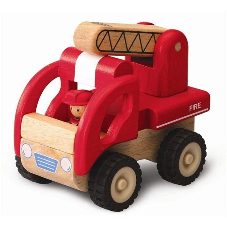 Houten brandweerauto speelgoed