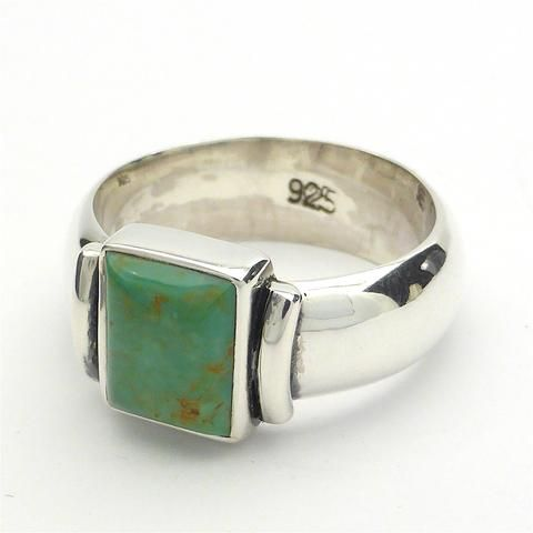 Ring Turquoise Oblong 925 Silver Large Size | Unisex | Wide Solid Band | Crystal Heart Melbourne Australia since 1986