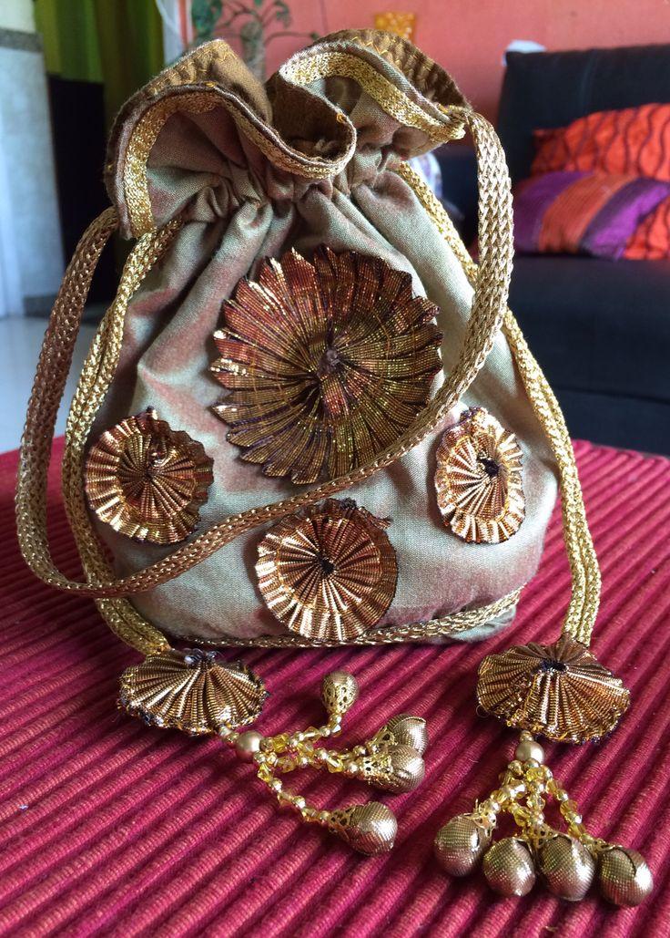 Copper Gold Silk Potli Bag