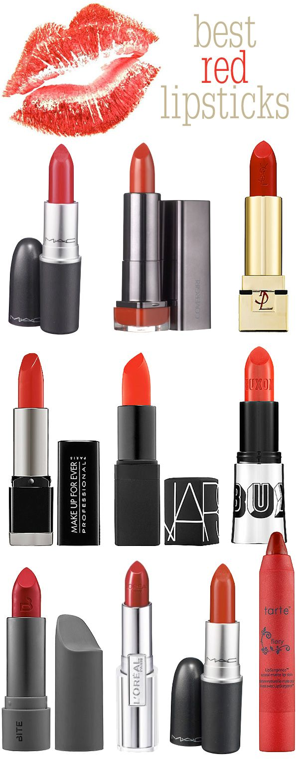 1. MAC Lipstick in Ruby Woo  2. COVERGIRL Lipperfection Lipcolor in Hot  3. Yves Saint Laurent Pure Colour Lipstick in Le Rouge  4. MAKE UP FOR EVER Rouge Artist Intense in 42 Satin Vermillion Red  5. NARS Lipstick in Heatwave  6. BUXOM Full Bodied Lipstick in Rouge  7. L'Oreal Paris Infallible Le Rouge in Red Fatale  8. Bite Beauty VIB Rouge Creme Lipstick in VIB Rouge  9. MAC Lipstick in Russian Red  10. Tarte LipSurgence Matte Lip Tint in Fiery