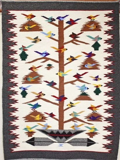"Tree of Life Navajo Rug - Bird Themed Navajo Rug,  Vintage Area Rugs For Sale  @ foutztrade.com @ Just $825.00 Tree of Life rug by Navajo weaver Nora Bitah; 29"" x 39""  #NavajoRugs #NativeAmericanRug #NavajoCrafts #Artworks #NavajoWeavings #NativeAmericanWeavings #Traditional #NavajoCulture #NavajoIndianTribe #IndianAmerican #SouthWestern #Navajomade #Handcrafted #Handmade"