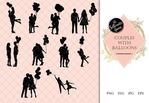 Download Couples with Balloons Silhouette   Love Vector   Romantic ...