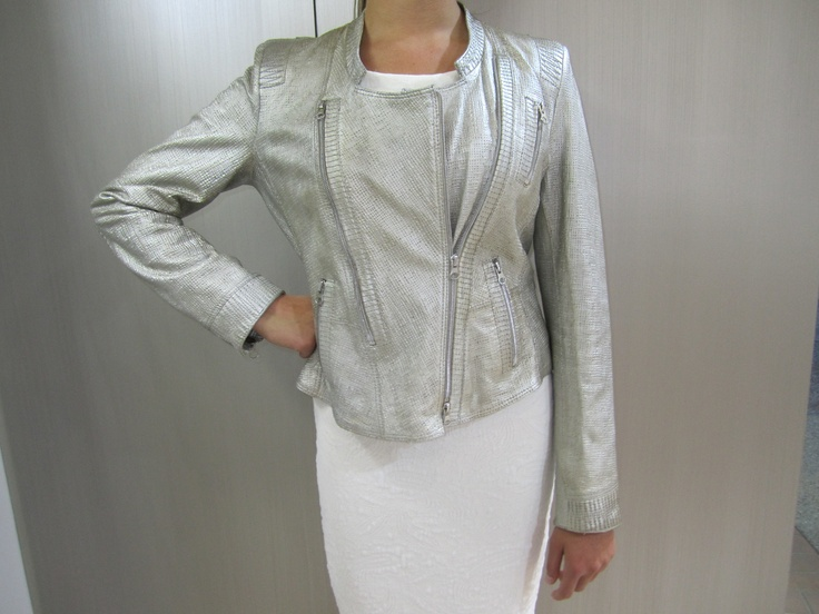 Metallic leather jacket Cream brocade dress