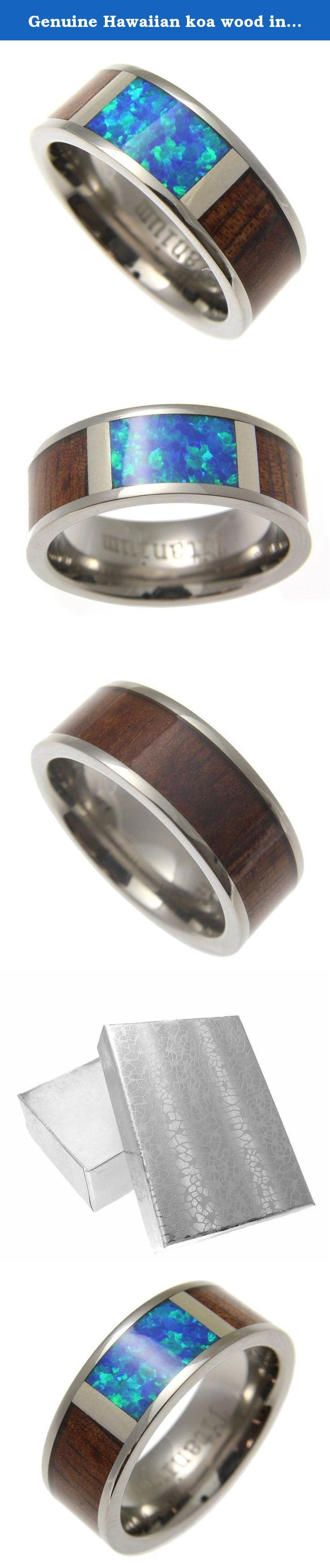 Genuine Hawaiian koa wood inlay opal band ring titanium comfort fit 8mm size 7.5. Genuine Hawaiian koa wood inlay opal band ring titanium comfort fit 8mm size 7.5.