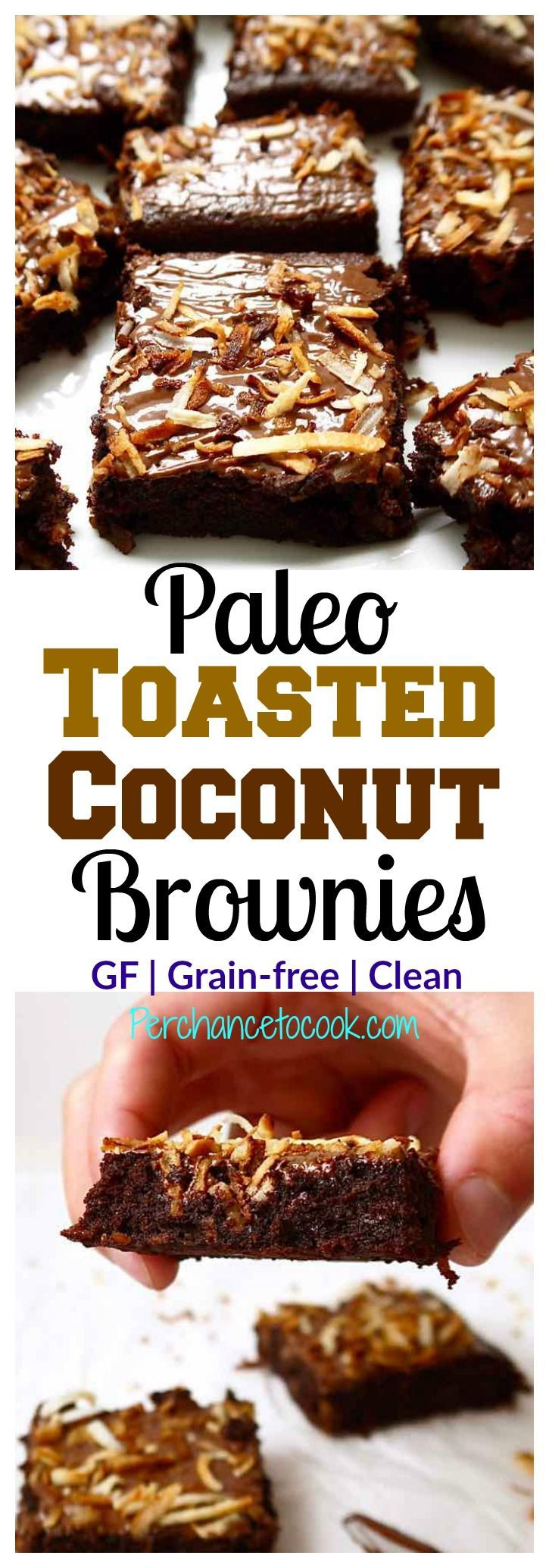 Paleo Toasted Coconut Brownies (GF) ~ Made with almond flour, cocoa powder, shredded coconut, olive oil, maple syrup, eggs, and chocolate chips. These healthy brownies pack a flavor punch! | Perchance to Cook, www.perchancetocook.com