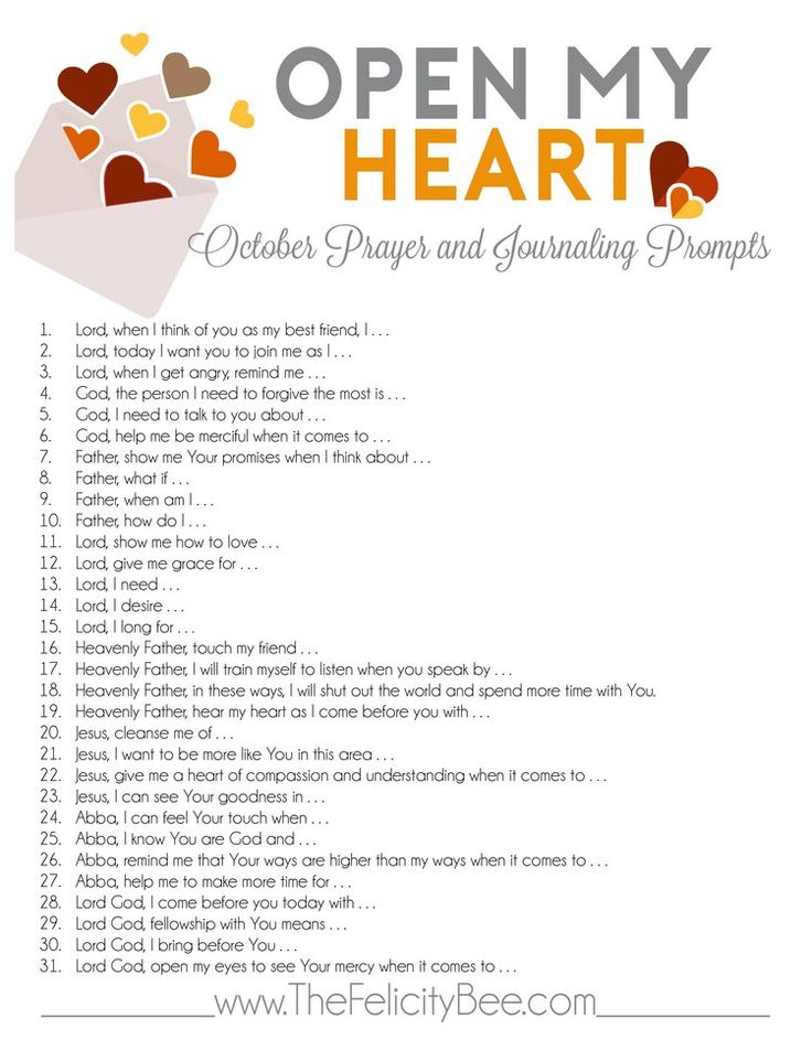 CLICK HERE to download your PDF of October's OPEN MY HEART plan.