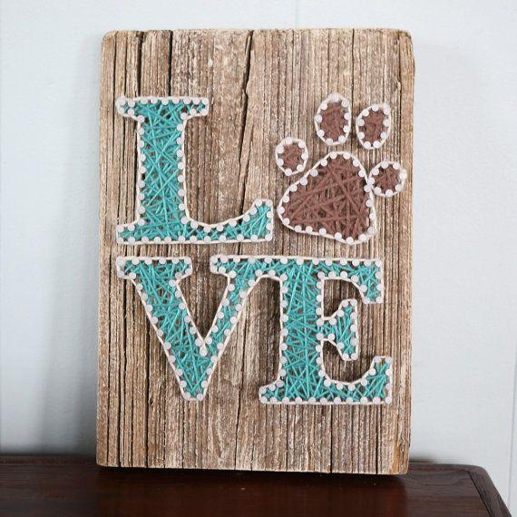 LOVE with Pawprint Driftwood String Art by CoastalCreationsNJ