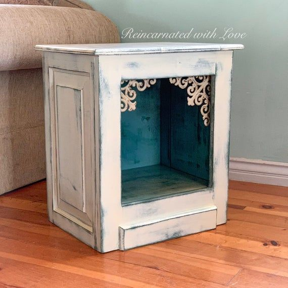 Shabby Chic Pet Bed Nightstand Dog Bed Cat Bed Farmhouse End Table Upcycled Furniture Side Table Dog House Cat Cave Cat House In 2020 Dog Beds For Small Dogs Dog Bed