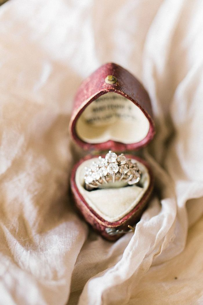 Antique Diamond Engagement Ring in a Heart Box
