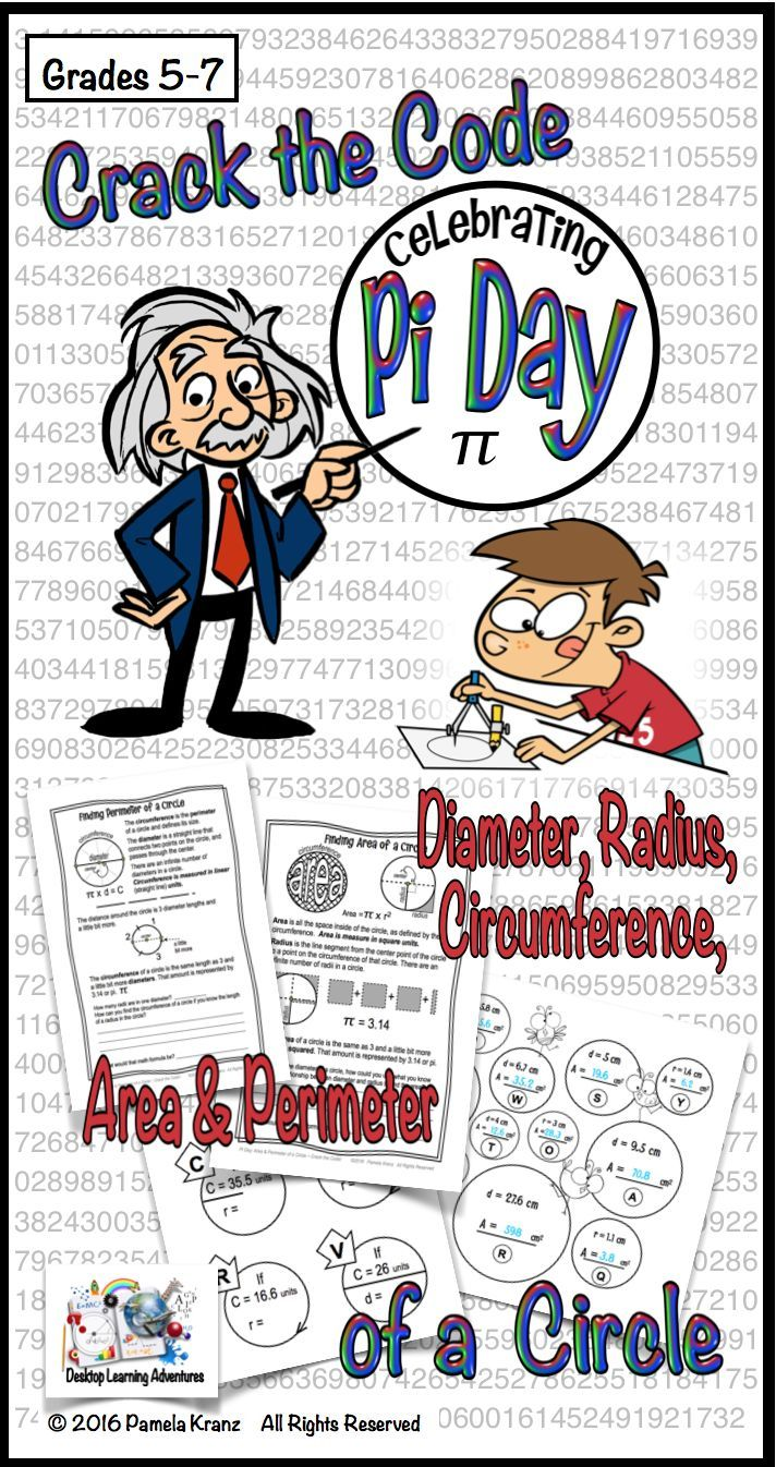 Pi Day Crack the Code gives students practice solving for radius, diameter, circumference and area of a circle with 2 Crack the Code puzzles. Also included, an interactive notebook page for finding area and perimeter of circles for reference. Pi Day: Area and Perimeter of a Circle makes a good calculator problem.  Grades 5-7 $