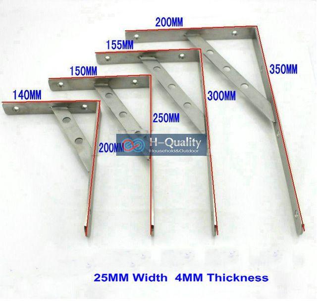 155X300MM AISI304 Stainless Steel Shelf Holder Bracket