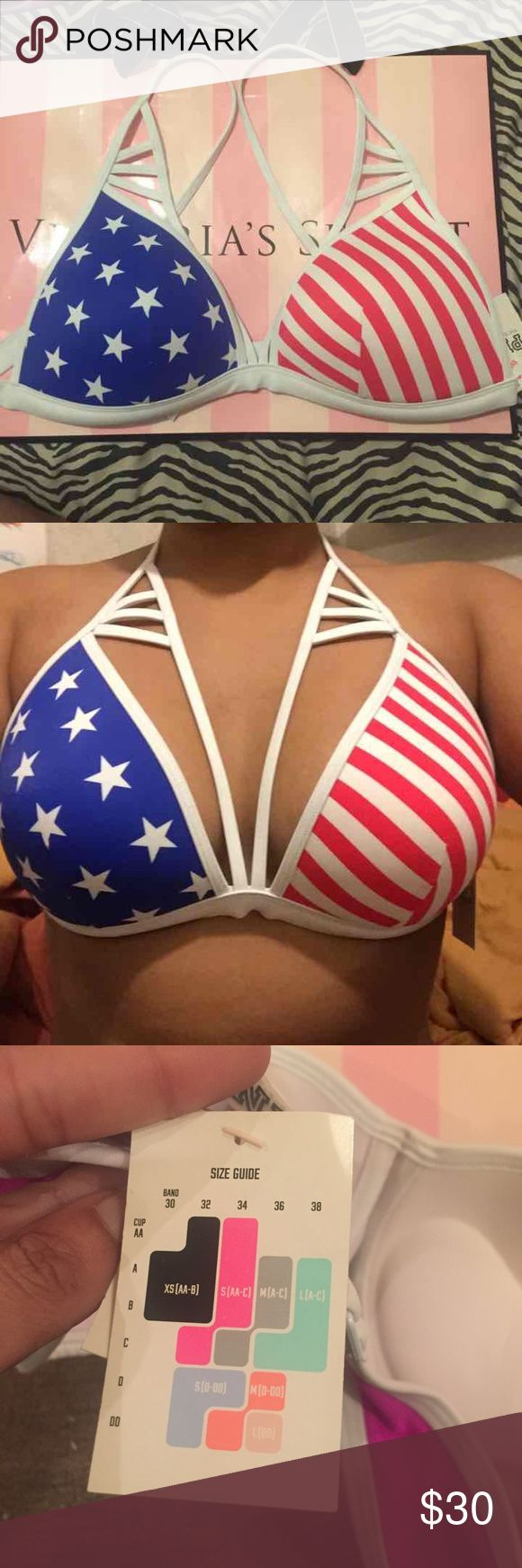 Vs pink American flag bikini top Victoria's Secret pink American flag strappy bikini top 34aa, 34a, 34b, 32c PINK Victoria's Secret Swim Bikinis