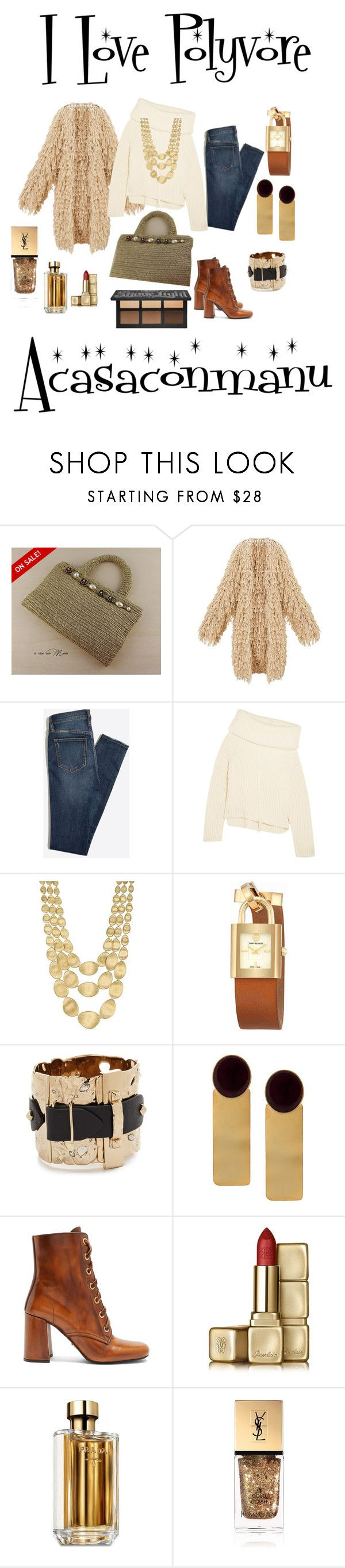 """Elegant gold coloured crochet handbag"" by bamasbabes ❤ liked on Polyvore featuring Joseph, Marco Bicego, Tory Burch, Alexis Bittar, Silhouette, Prada, Guerlain and Yves Saint Laurent"