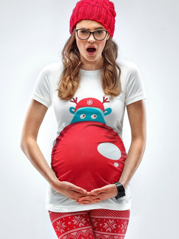Rudolph's Nose Maternity Christmas T-shirt Fun by Mamagamaworld
